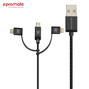 Charge and sync virtually any device on the market with this versatile universal cable from Promate. Featuring Micro USB, Lightning and USB-C for a variety of smartphones, tablets, e-readers and more.