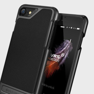 Protect your iPhone 8 / 7 with this precisely designed case in black from VRS Design. Combining a leather -style material with polycarbonate, this slim case is certain to add to the style of your iPhone.