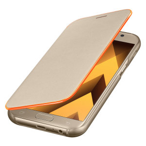 Protect your Samsung Galaxy A5 2017's back, sides and screen from harm with the official gold neon flip cover from Samsung. Featuring neon edge lighting to keep you informed of notifications, incoming calls and more.