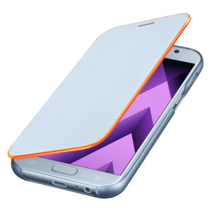 Protect your Samsung Galaxy A5 2017's back, sides and screen from harm with the official blue neon flip cover from Samsung. Featuring neon edge lighting to keep you informed of notifications, incoming calls and more.