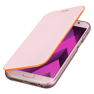 Protect your Samsung Galaxy A5 2017's back, sides and screen from harm with the official pink neon flip cover from Samsung. Featuring neon edge lighting to keep you informed of notifications, incoming calls and more.
