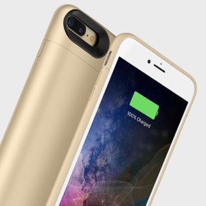 The Mophie Juice Pack in gold is a 2420mAh 'Made for iPhone' battery case with added power and protection made for the Apple iPhone 7 Plus. Equipped with enough juice to give your iPhone 7 Plus a total of 33 hours' battery life.
