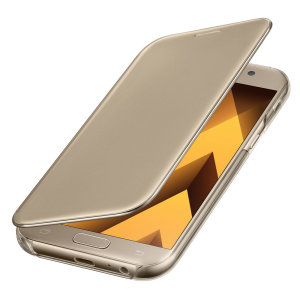 This Official Samsung Clear View Cover in gold is the perfect way to keep your Galaxy A5 2017 smartphone protected whilst keeping yourself updated with your notifications thanks to the clear view front cover.