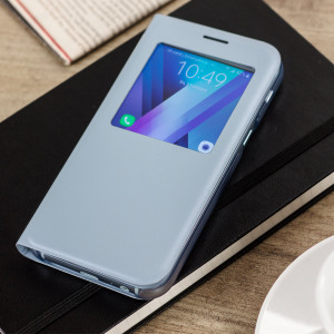 Ideal for checking the time or screening and answering incoming calls without opening the case. This blue official Samsung S View Cover for the Samsung Galaxy A5 2017 is slim and stylish.