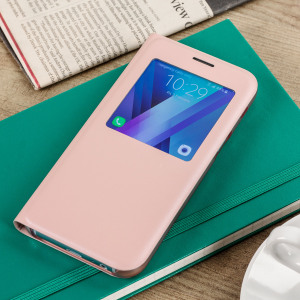 Ideal for checking the time or screening and answering incoming calls without opening the case. This pink official Samsung S View Cover for the Samsung Galaxy A5 2017 is slim and stylish.