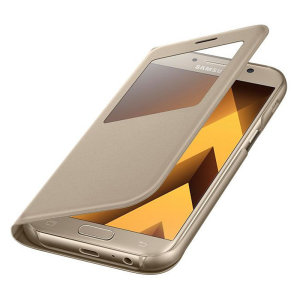 Ideal for checking the time or screening and answering incoming calls without opening the case. This gold official Samsung S View Cover for the Samsung Galaxy A5 2017 is slim and stylish.