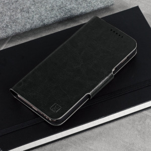 The Olixar leather-style Samsung Galaxy A3 2017 Wallet Case in black provides enclosed protection and can also be used to hold your credit cards. The case also transforms into a viewing stand for added convenience.