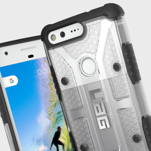 The Urban Armour Gear Plasma semi-transparent tough case in Ice clear and black for the Google Pixel features a protective case with a brushed metal UAG logo insert for an amazing rugged and stylish design.