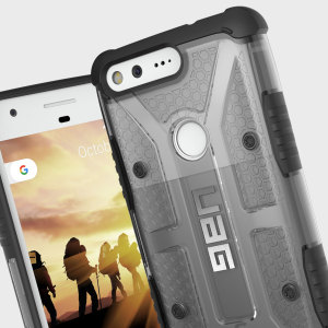 The Urban Armour Gear Plasma semi-transparent tough case in Ash grey and black for the Google Pixel features a protective case with a brushed metal UAG logo insert for an amazing rugged and stylish design.