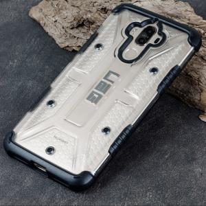 The Urban Armour Gear Plasma semi-transparent tough case in Ice clear and black for the Huawei Mate 9 features a protective case with a brushed metal UAG logo insert for an amazing rugged and stylish design.