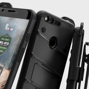 Equip your Google Pixel with military grade protection and superb functionality with the ultra-rugged Bolt case in black from Zizo. Coming complete with a handy belt clip and integrated kickstand.