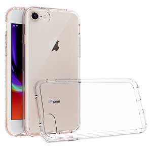 Custom moulded for the iPhone 8. This crystal clear Olixar ExoShield tough case provides a slim fitting stylish design and reinforced corner shock protection against damage, keeping your device looking great at all times.