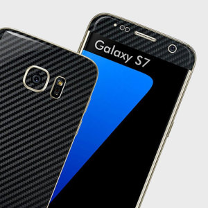 Enhance your Samsung Galaxy S7's smooth, sleek appearance with this premium carbon fibre-style skin from Easyskinz. Crafted from the world's finest materials and featuring precision tangential cutting for a perfect fit.