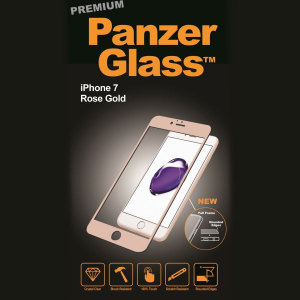 Introducing the premium range PanzerGlass glass screen protector in rose gold. Designed to be shock and scratch resistant, PanzerGlass offers the ultimate protection, while also matching the colour of your stunning iPhone 7.
