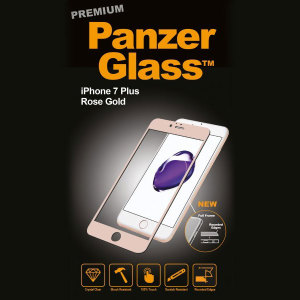 Introducing the premium range PanzerGlass glass screen protector in rose gold. Designed to be shock and scratch resistant, PanzerGlass offers the ultimate protection, while also matching the colour of your stunning iPhone 7 Plus.