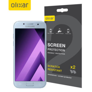 Keep your Samsung Galaxy A3 2017 screen in pristine condition with this Olixar scratch-resistant screen protector 2-in-1 pack.