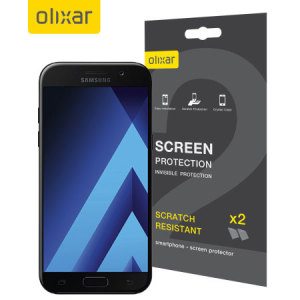 Keep your Samsung Galaxy A5 2017 screen in pristine condition with this Olixar scratch-resistant screen protector 2-in-1 pack.