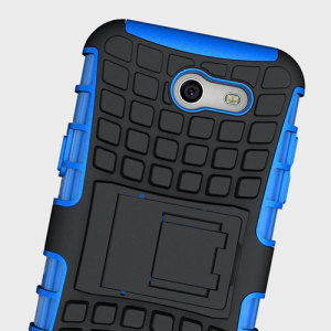 Protect your Samsung Galaxy J3 2017 - US Version from bumps and scrapes with this blue ArmourDillo case. Comprised of an inner TPU case and an outer impact-resistant exoskeleton, with a built-in viewing stand.