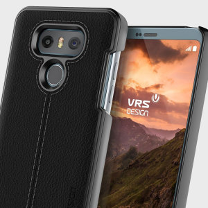 Protect your LG G6 with this precisely designed case in black from VRS Design. Combining genuine leather with polycarbonate, this slim case is certain to add to the style of your G6.