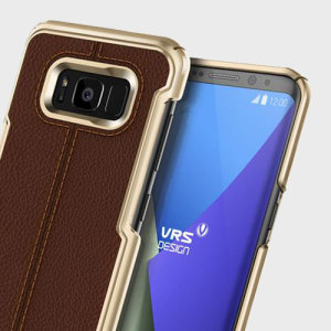 Protect your Galaxy S8 with this precisely designed case in brown from VRS Design. Combining leather-style material with polycarbonate, this slim case is certain to add to the style of your S8.