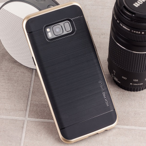Protect your Samsung Galaxy S8 with this precisely designed high pro shield series case in Shine Gold from VRS Design. Made with tough dual-layered yet slim material, this hardshell body with a sleek bumper features an attractive two-tone finish.