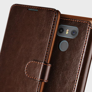 The VRS Design Dandy Wallet Case in dark brown for the LG G6 comes complete with card slots, a large document pocket and is made with a luxurious leather-style material for a classic, prestige and professional look.