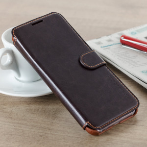Funda Galaxy S8 VRS Design Dandy Estilo Cuero Tipo Cartera - Marrón