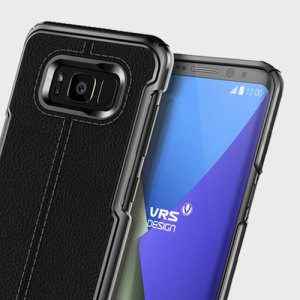 Protect your Samsung Galaxy S8 Plus with this precisely designed case in black from VRS Design. Combining leather-style material with polycarbonate, this slim case is certain to add to the style of your S8 Plus.