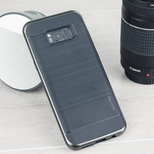 Protect your Samsung Galaxy S8 Plus with this precisely designed high pro shield series case in dark silver from VRS Design. Made with tough dual-layered yet slim material, this hardshell body with a sleek bumper features an attractive two-tone finish.