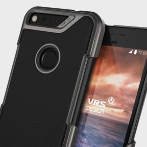 Protect your Google Pixel with this precisely designed case in black from VRS Design. Combining a leather-style material around a tough polycarbonate frame, this slim case is certain to add to the style of your phone.
