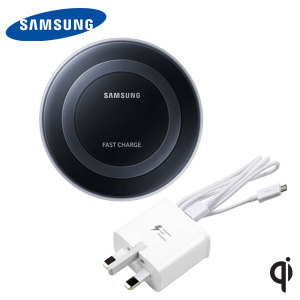 Wirelessly charge your compatible Samsung Galaxy devices with Wireless Fast Charge technology using this official Samsung Qi Wireless Charging Pad in black, featuring intelligent circuit protection. Comes with UK mains plug.