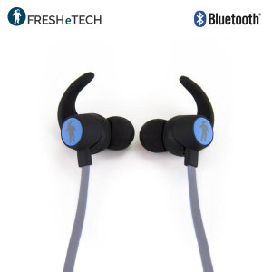 Listen to music and take calls on the go with the FRESHeBUDS Bluetooth headphones in black and blue from FRESHeTECH. Lightweight, long-lasting and boasting great EQ response, these wireless headphones will be your constant companion.