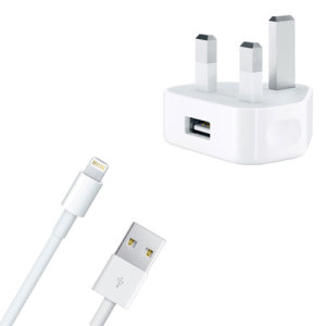 With this official UK mains charger, you can keep your Lightning compatible iPhone battery topped up at home - in white. Also includes a 1m Lightning cable for charging and syncing data to and from your device.