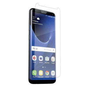 The precision pre-cut case friendly InvisibleShield original screen protector applies directly to the front of your Samsung Galaxy S8 for advanced clarity and a glass-like surface.