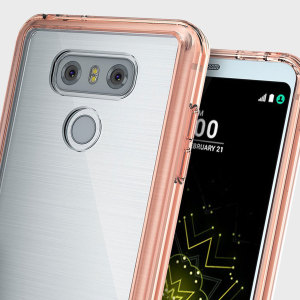 Protect the back and sides your sleek LG G6 with this incredibly durable rose gold tinted and clear backed Fusion Case by Ringke.