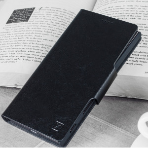 Protect your Samsung Galaxy J3 2017 - US version with this durable and stylish black leather-style wallet case by Olixar. What's more, this case transforms into a handy stand to view media.