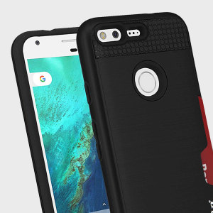 Designed for the Google Pixel, this black dual layered card case from Zizo provides a perfect fit and robust protection against scratches, knocks and drops with the added convenience of credit card-sized slots.