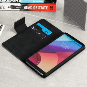 Protect your LG G6 in elegant luxury with a leather-effect wallet case in black. The case also includes a viewing stand, perfect for watching movies with friends and family.
