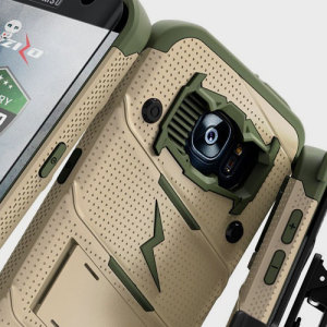 Equip your Samsung Galaxy S7 Edge with military grade protection and superb functionality with the ultra-rugged Bolt case in desert camo tan and green from Zizo. Coming complete with a handy belt clip and integrated kickstand.