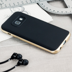 Hybrid layers of robust TPU and hardened polycarbonate with a premium matte finish non-slip carbon fibre design, the Olixar X-Duo case in black and gold keeps your Samsung Galaxy A3 2017 safe, sleek and stylish.