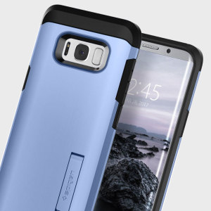 The Spigen Tough Armor in blue is the new leader in lightweight protective cases. The new Air Cushion Technology corners reduce the thickness of the case while providing optimal protection for your Samsung Galaxy S8.