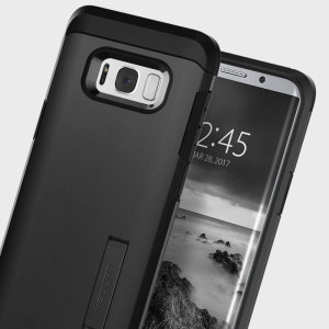 The Spigen Tough Armor in black is the new leader in lightweight protective cases. The new Air Cushion Technology corners reduce the thickness of the case while providing optimal protection for your Samsung Galaxy S8.
