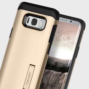 The Spigen Tough Armor in champagne gold is the new leader in lightweight protective cases. The new Air Cushion Technology corners reduce the thickness of the case while providing optimal protection for your Samsung Galaxy S8.