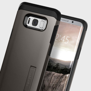 The Spigen Tough Armor in gunmetal is the new leader in lightweight protective cases. The new Air Cushion Technology corners reduce the thickness of the case while providing optimal protection for your Samsung Galaxy S8.