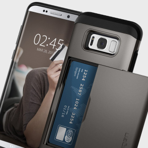The Spigen Samsung Galaxy S8 Slim Armor CS Case in gunmetal features a back compartment that can hold up to 2 credit cards or IDs. It is constructed with the Air Cushion Technology that gives extreme shock absorption and device protection.