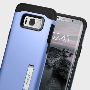 The Slim Armor case for the Samsung Galaxy S8 in blue has shock absorbing technology specifically incorporated to protect the device from impacts from any angle.