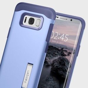 The Slim Armor case for the Samsung Galaxy S8 in violet has shock absorbing technology specifically incorporated to protect the device from impacts from any angle.