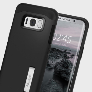 The Slim Armor case for the Samsung Galaxy S8 in black has shock absorbing technology specifically incorporated to protect the device from impacts from any angle.