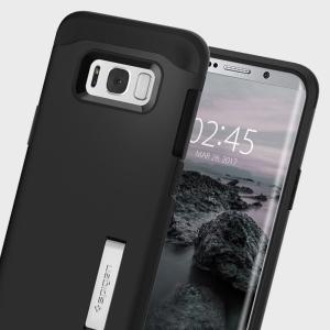 Die Slim Armor Hülle für das Samsung Galaxy S8 absorbiert Stöße und schützt das Smartphone vor Beschädigungen.