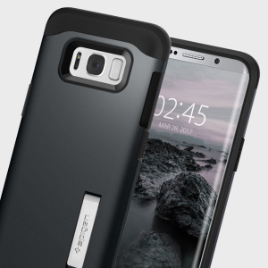 The Slim Armor case for the Samsung Galaxy S8 in metal slate has shock absorbing technology specifically incorporated to protect the device from impacts from any angle.